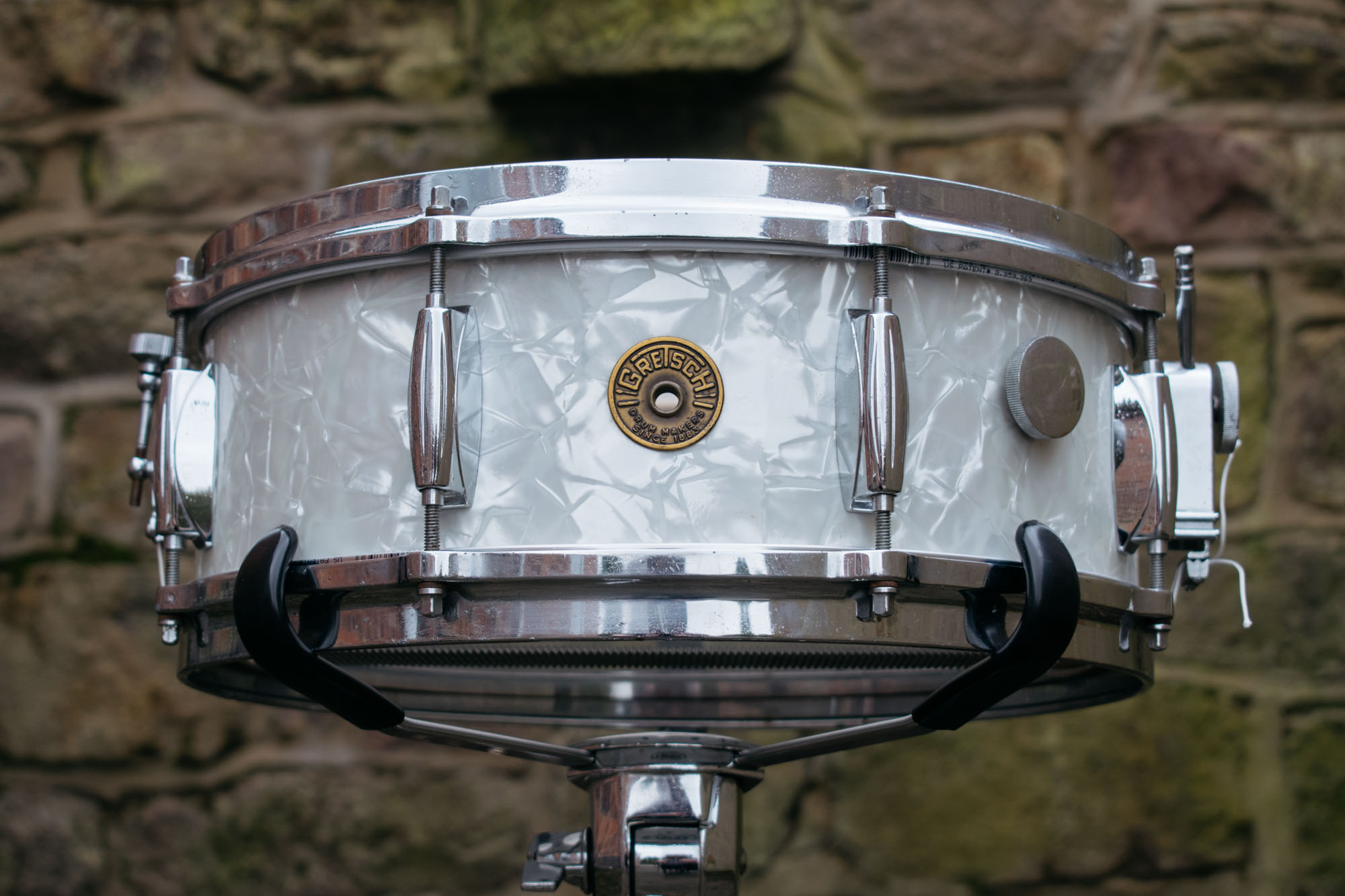 vintage 1960s gretsch 39 4157 39 14x5 snare drum in white marine pearl more drums. Black Bedroom Furniture Sets. Home Design Ideas
