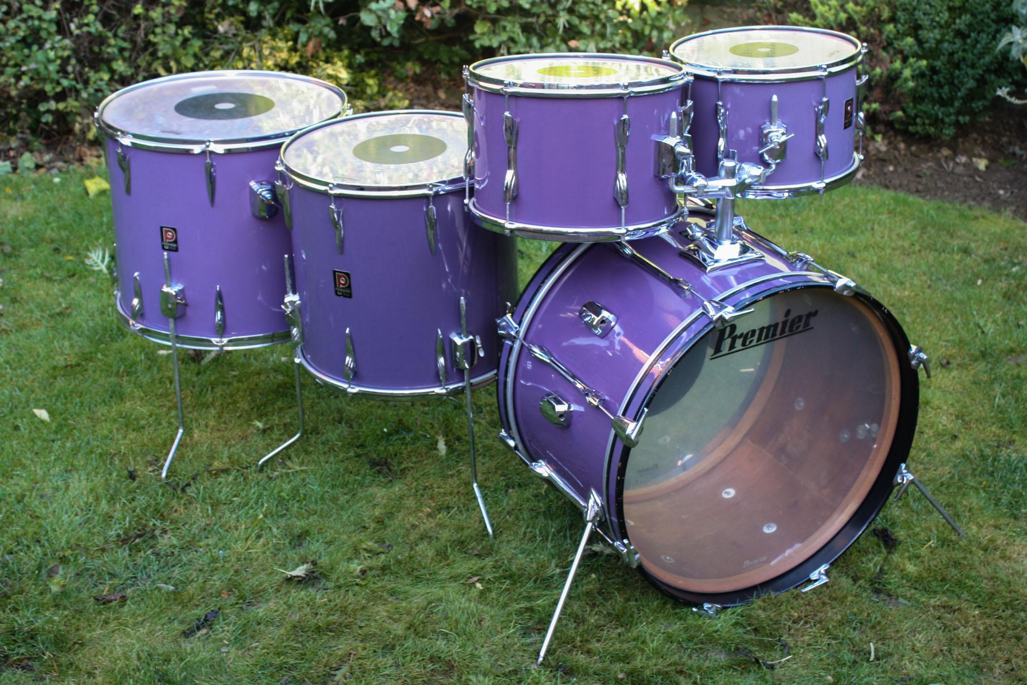 vintage 1970s premier drum kit in polychromatic purple more drums. Black Bedroom Furniture Sets. Home Design Ideas